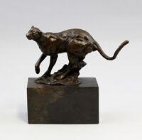 9937277-dss Bronze Skulptur Figur Puma Raubkatze Leopard sign.Milo 18x10x20cm