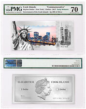 2017 Cook New York Skyline Foil Note 5 g Silver $1 PMG Gem Unc 70 ER SKU48755