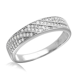 Men's Sterling Silver Wedding Band Ring w/ Micro Pave Wave CZ Stones
