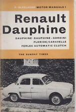 Renault Dauphine Caravelle Dauphine Gordini Floride 1956-Manuel de réparations cartonnée