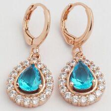 Nice New Rose Gold Plated Topaz Blue Pear Shape Teardrop CZ Dangle Drop Earrings