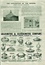 Antique B&W Illustrated Advertisement Goldsmiths & Silversmiths Co & Soudan 1898