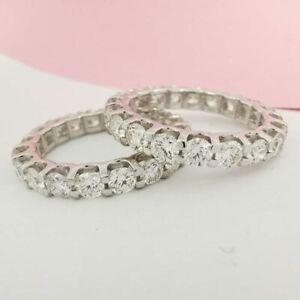 4.10 CT 14K White Gold D VVS2 Diamond Eternity Ring Round Cut
