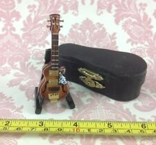 Dollhouse Miniature Musical Instrument Wooden Guitar Decor w/ Case n Stand 1:12