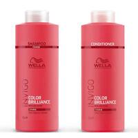Invigo Wella Brilliance Coarse Thick Shampoo & Conditioner Duo Litre 1000ml Pack
