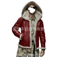 Mens Bomber Faux Leather Jacket Hooded Fleeces Lined Biker Winter Outwear Chic L