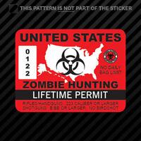 United States Zombie Hunting Permit Sticker Vinyl USA outbreak response