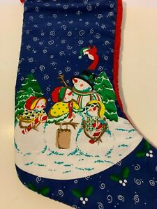 Christmas Stocking with snowman family blue