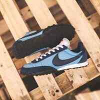Nike Gaufre Coureur Hommes Bleu Noir Blanc Baskets Basket UK Taille 7-11