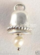 RETIRED Authentic PANDORA Silver WEDDING BELL White Hanging PEARL Bead/Charm NEW