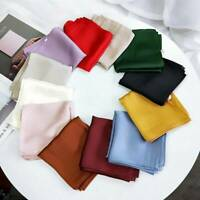 Scarf Women's Silk scarf Fashion Lady Square Scarves Solid Soft Color Bandana T