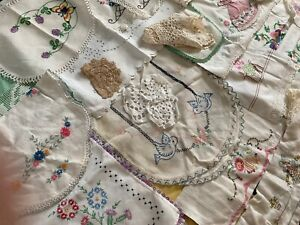 Lot 27 Vintage Embroidered Linens Pillowcases Doilies Net Crochet Use Repurpose