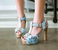 Womens Open Toe Platform High Heels Sandals Floral Ankle T Strap Shoes US Sz