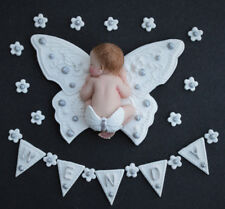 Edible baby cake topper. Edible butterfly & baby Christening cake decoration.