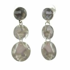 Circle Earrings with Grey Marbled. Contemporary Fashion Jewellery: Long Triple