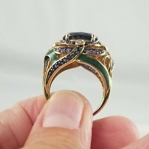 Gold clad over Sterling Silver Enameled Multi Gemstone Dragonfly Ring sz 8.25