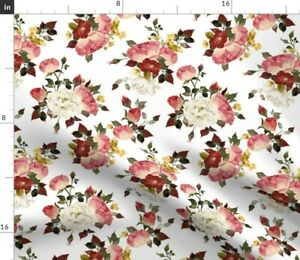 Rose Roses Floral Flower Red Valentines Spoonflower Fabric by the Yard