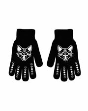 Witch Girl winter accessories Cat & Moon Phases Black Knit Stretch Gloves