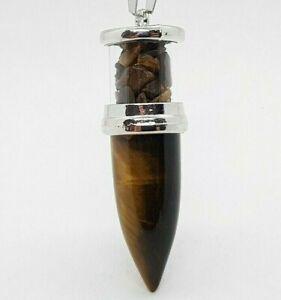 Tigers Eye Necklace Crystal Chamber Bullet Pendant Quartz Tiger Eye High Quality