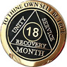 18 Month AA Medallion Elegant Black Gold & Silver Plated Sobriety Chip Coin
