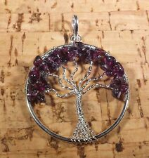 NATURAL GARNET TREE OF LIFE  WIRE WRAPPED PENDANT STONE GEMSTONE