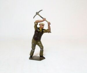 BRITAINS Lead Toy Soldier Figure RARE FARM & ROAD WORKER WITH PICK AXE