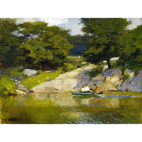 Potthast Boating Central Park New York Nature Painting Canvas Art Print Poster