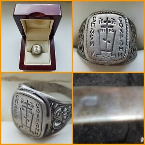 Russian  vintage Orthodox Cross IC XC Ring Lord Save and Preserve Silver