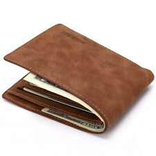 Men's Soft Leather Bifold Credit ID Card Holder Slim Thin Wallet Brown