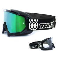 TWO-X Race Crossbrille MX Enduro Brille schwarz Spiegelglas verspiegelt grün