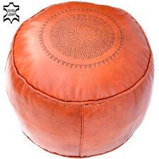 Leder Sitzkissen Marokkanischer Hocker Orientalisches Kissen Poufs LSR6 Orange