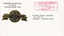 POSTAL HISTORY ADVERTISING METERED COM COVER - 1991 SANDERS GRAIN CO CARTHAGE MO