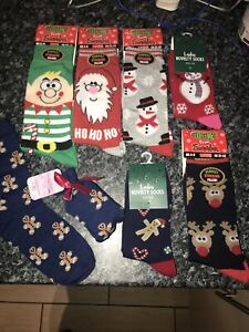 Mens Womens UNISEX Christmas Xmas Socks Elf Santa Gingerbread Snowman Rudolph