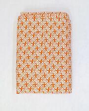 Pottery Barn Orange White Geometric Trellis Organic Percale King Flat Sheet EUC