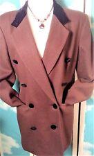 Stanley Black Womens Blazer Sz 10 Brown Wool Double Breasted Black Velvet Collar