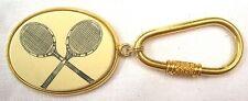 Barlow Vintage Gold Tennis Rackets Keychain Faux Scrimshaw Art USA Made