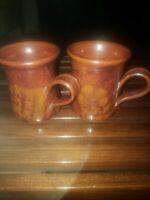 Pair. Vintage 60s/70s Mid Century Modern Michael Cohen  Pottery Stoneware Mug