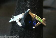 Sterling 925 Silver Size 9 Ring White Fire Opal & 7*9mm Teardrop Blue Sapphire
