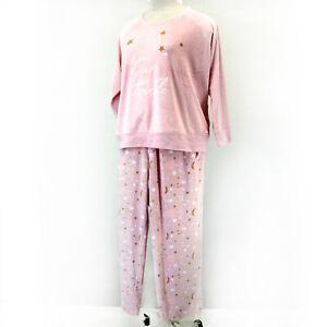 MUK LUKS Woman Plus Pink Stars Plush Velour Christmas Pajama Set 1X