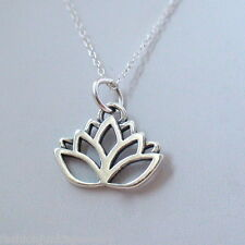 Lotus Flower Necklace - 925 Sterling Silver Charm Necklace *NEW* Namaste Yoga