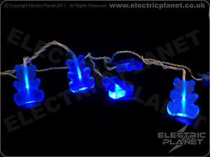 Blue Teddy Bear Portable Battery-Powered LED Stringlights, Low Voltage