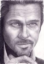 Arte Original. Brad Pitt Retrato. por Simon campo.