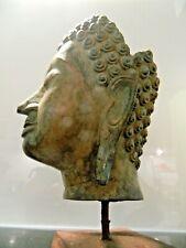 Bronze BUDDHA-Kopf - Kambodscha, Khmer-Reich, ca. 13.-15.Jhr. - gesockelt