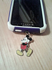 """SILVER & ENAMEL """"MICKEY MOUSE"""" CELL PHONE DUST PLUG CHARM-FITS ALL CELL PHONES"""