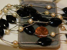 """Extra long 60""""  White Pearl Black Glass Bead Silver Necklace 12h 12"""
