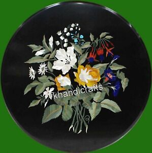 Royal Pattern Inlay Round Sofa Table Top Hand Crafted Coffee Table 21 Inches