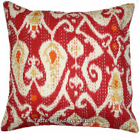 """16"""" Red Cushion Pillow Cover Handmade Ikat Kantha Embroidered Throw INDIAN Decor"""