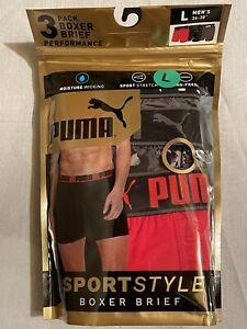 NWT Puma. Sz L. Men's. 3 Pack. Sportstyle Performance Boxer Briefs. MSRP $28.00