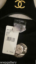 NWT $1846 CHANEL CAMELLIA CC CASHMERE SWEATER DRESS BLACK COLOR ITALY SIZE 36