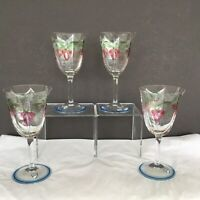 4 Pc Set Orrefors Sweden Maja Signed Wine Glass Stem Clear Flowers Vines vtgs